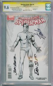 Amazing Spider-man #1 Celestial Sketch Variant (2014) CGC 9.6 Signature Series Signed Stan Lee Dan Slott John Romita Sr Marvel comic